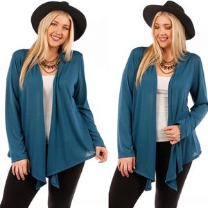 Sweaters - 1x-3x PlusWaterfal Draped Open  Knit Cardigan TEAL